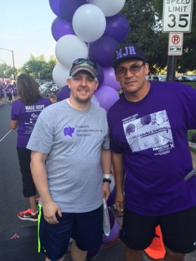 CGH Director of Operations, Todd Drye, PHR, with Carolina Panthers coach Ron Rivera at PurpleStride 2016